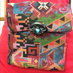 Tribal Rainbow Carpet Bag Turquoise Stone Bag